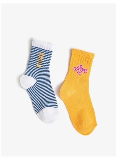 Koton Kiz Çocuk Sloganli Çorap Seti 2'li Pamuklu Turkuaz